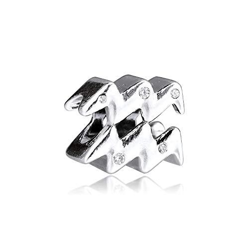 LILANG Pandora 925 Pulsera de joyería de Plata de Ley Genuina Natural Brillante Acuario Zodiaco Abalorios para Mujeres Regalo DIY