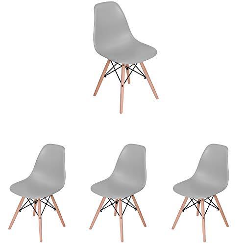 4er-Set Esszimmerstuhl im modernen Stil Mitte Jahrhundert modernen Stuhl Shell Lounge für Küche Esszimmer Schlafzimmer mit skandinavischen Stühlen bequemen Holzstuhl perfekt für Ihr Zuhause (grau, 4)