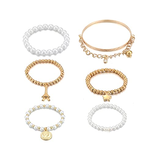 ln 6 Pieces/Set of Fashion Golden Beads Pearl Stars Multi-Layer Beaded Bracelet Set Ladies Charm Party Jewelry Gift (Color : Gold)