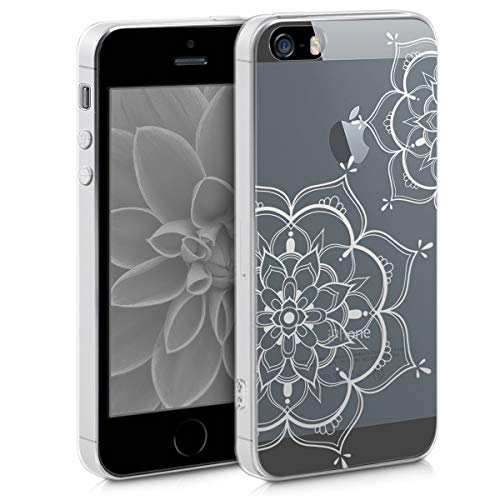 kwmobile Hülle kompatibel mit Apple iPhone SE (1.Gen 2016) / 5 / 5S - Handyhülle - Handy Case Blumen Zwillinge Silber Transparent