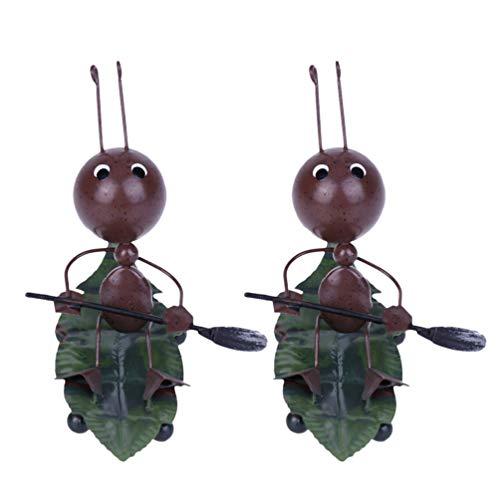 Garneck 2 Piezas de Metal Hormiga Modelo de Dibujos Animados Lindo Arte de Hierro Insecto Remo Jardín Estatua Figuras Artesanales Decoración de Mesa para Restaurante Oficina Cafetería