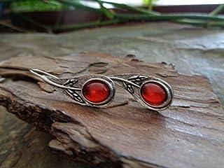 ✿ FIORI E VETRO ROSSO ✿ orecchini a gancio lunghi in metallo con ganci lunghi e fiori, ramo, ramo