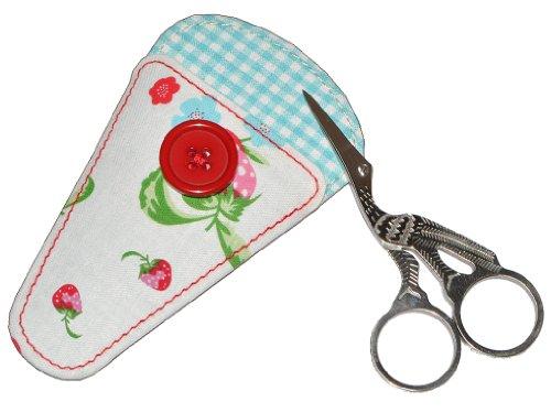 alles-meine.de GmbH kleine Storchen Schere mit Etui - Nähschere - Stickschere auch für Maniküre / Pediküre geeignet - Erdbeere Blumen Storchenschere