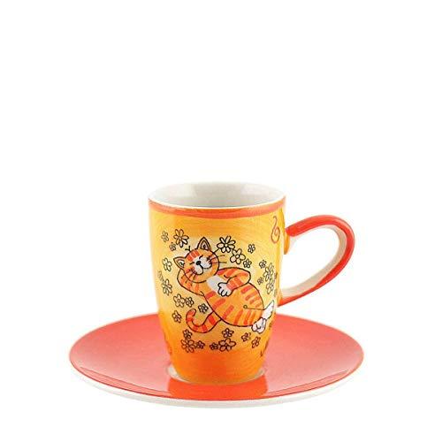 440s Mila Keramik Espresso-Tasse mit Untere, Oommh Katze Verschnaufpause | MI-88195 | 4045303881952