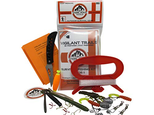 Vigilant Trails Pocket-Survival Fishing Kit Stage-1 | Includes Large Hand Reel to Keep Your Line Organized | Terminal Tackle | Lures | Lock Back Knife