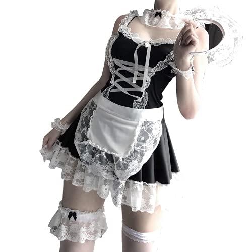 MEETFUN Maid Dress Halloween-KostüM Lolita Maid Dress Chef Daily Schwarz-Weiß Cospaly Maid Loli Dress…