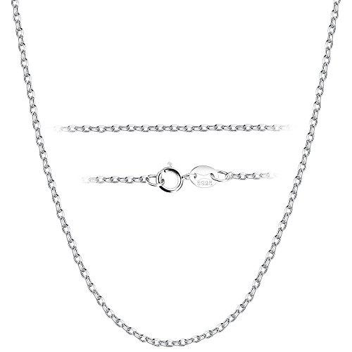 BESTEEL 1.5 MM Collier en Argent 925 pour Hommes Femmes Longue Chaîne Collier Fine approprié pour pendentifs avec Coffret Cadeau, 46 CM