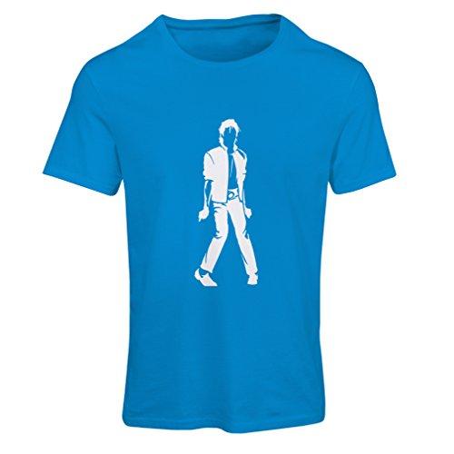 lepni.me Camiseta Mujer Me Encanta M J - Rey del Pop, 80s, 90s Músicamente Camisa, Ropa de Fiesta (XX-Large Azul Blanco)