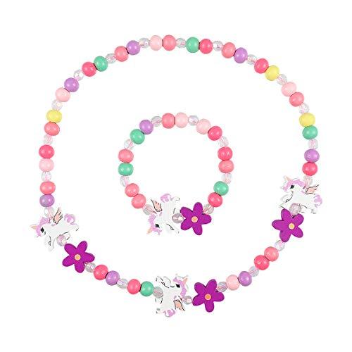 Amosfun Holz Kinder Schmuck Set Einhorn Perlen Halskette und Armband Geschenk für Mädchen Geburtstag Party Dress Up Kostüm Zubehör