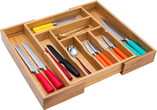 Vescoware Bamboo Kitchen Drawer Organizer - Expandable Silverware Tray for Drawer -...