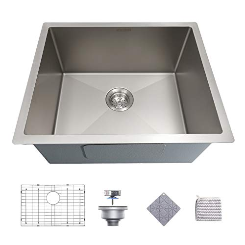 Kitchen Sink, MENSARJOR 22.6-inch Undermount Nano Ceramic Plating fully Coating Kitchen Sink, 16 Gauge Single Bowl Stainless Steel Handmade Kitchen Sink