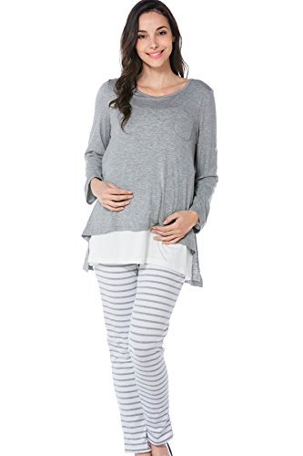 Product Image of the Smallshow Women's Maternity Nursing Pajamas Set 2 Pcs Breastfeeding Top and Pant...