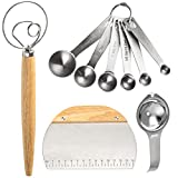 Danish Dough Whisk Mixer Beater,Stainless steel Dutch Mixer, With Spatula for Making Bread, Pastry...