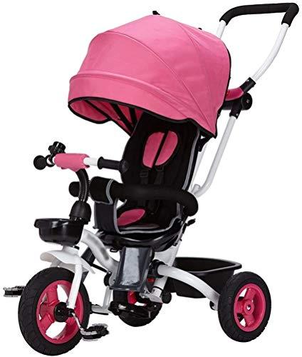 Cochecito de bebé, con errores, ligero Niños fácil Steer triciclo 3 Ruedas de seguridad del pabellón con la rotación del asiento, silla de paseo con tela Oxford pedal del bebé de la carretilla Capazo