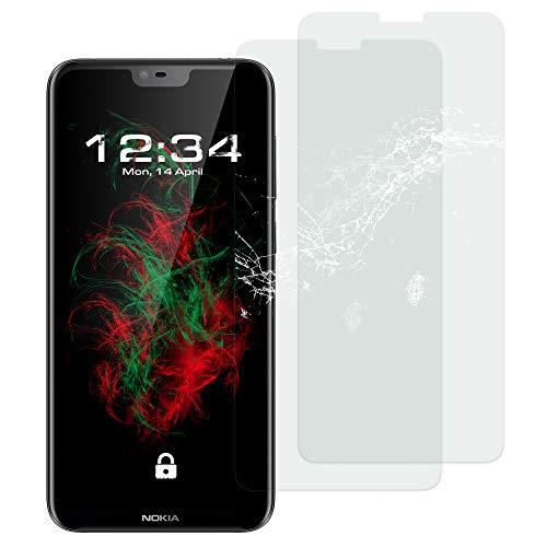 Baluum 2X Panzerglas für Nokia 6.1 Plus (Nokia X6) Klare Bildschirmschutzfolie Panzerglasfolie 9H Echt Glas-Folie Clear Tempered Glass Screen Protector Glas Durchsichtige Schutzfolie (Glasfolie-Klar 2X)