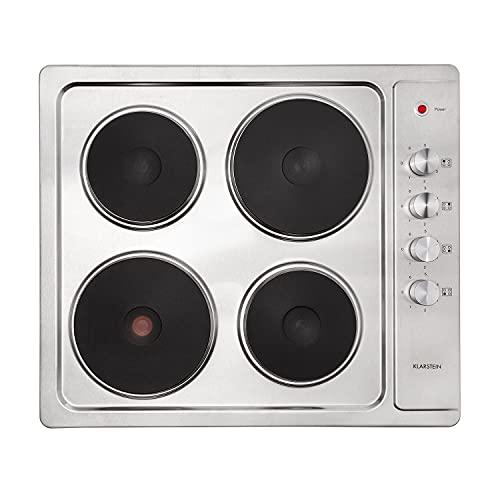 Klarstein Appetito 4 - Placa de cocción eléctrica, Potencia 5500 W, 4 reguladores con 6 niveles, 4 placas de cocción, Superficie de acero inoxidable, luz LED, Dimensiones 59 x 8 x 51 cm, Plateado