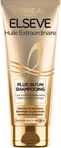 L'Oréal Paris Elseve Plus Qu'un Shampooing - Lavage & Soin des Cheveux Secs et Abîmés - Huile Extraordinaire - 200 ml