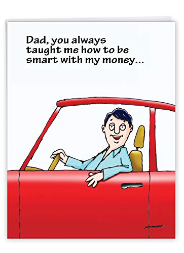 NobleWorks - Jumbo Fathers Day Card Funny (8.5 x 11 Inch) - Hilarious Greeting Notecard for Dads, Grandpa - Smart With Money J0396