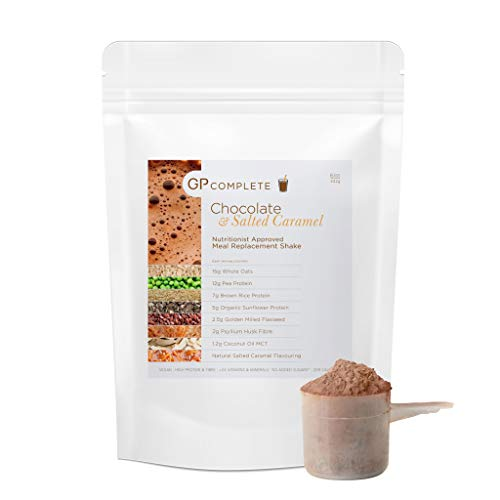 GP Complete - Diet Meal Replacement Shake - Chocolate & Salted Caramel - Vegan - Nutritionally Complete Meal - High Protein + Fibre - No Added Sugar - 24 Vits & Mins - Dairy Free