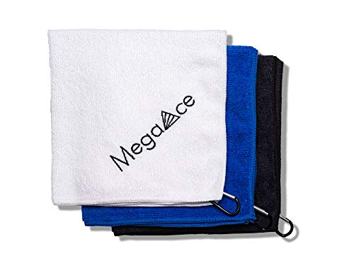 MegaAce 3 Pack of Golf Towels for Golf Bags with Clip / Micro Fiber Towel, Golf Towel to use as On-Course Golf Accessories, Golfing Accessories for Men or Golf Towels for Golf Bags Women