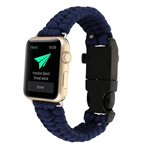 AIYIBEN 42MM Apple iwatch Watch cinturino, Nuovo Nylon ombrello corda sopravvivenza Bracelet Watch band . (Dark Blue)