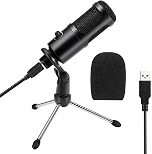 USB Microphone, KKUYI Condenser Computer Mic with Tripod Stand,for Gaming, Podcast, Skype Chatting, YouTube Videos, Voice Overs and Streaming Recording,Compatible with iMac PC Laptop Desktop Windows