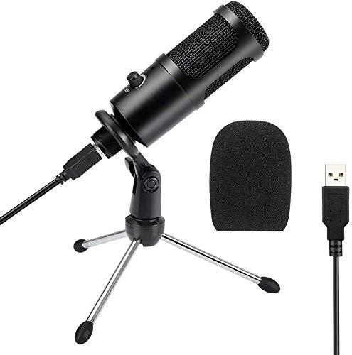 USB Mikrofon für Aufnahmeauf PC, Mac und Laptop, Kondensator Mikrofone + Ständer Studioqualität Aufnahme Microphone USB für podcast, studio, streaming, broadcast, youTube, video, recorder Mehr