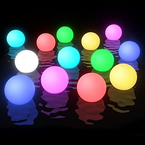 Smarich Schwimmende Poolbeleuchtung, IP68 Wasserdichtes Whirlpool Licht, RGB Farbwechsel Badewanne LED Spa Licht, Leuchtendes Nacht Licht Ball für Baby Geschenke, Garten, Innen der Wohnkultur(2 Stück)