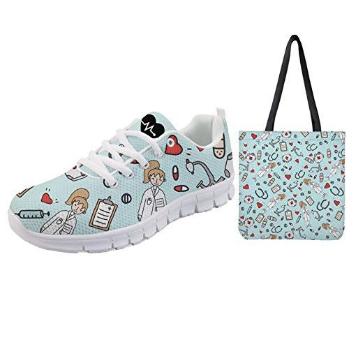 UOIMAG Zapatos de Enfermera para Mujer con Bolsa de Lona, Zapatillas Deportivas de Regalo, Juego de Bolsa de Compras Reutilizable