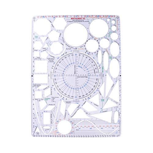 Toyvian - Plantillas geométricas para dibujo, plantilla de plástico, plantilla para muebles, plantillas, regla, formas, herramientas de dibujo para pintores, estudiantes, diseñadores