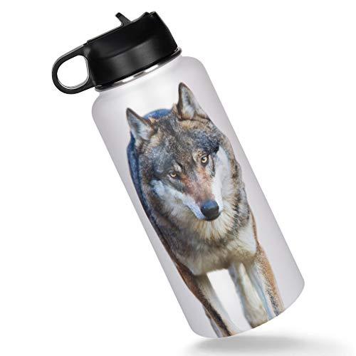 Botella de acero inoxidable para viaje con diseño de lobo enfadado, de doble pared, con tapa, a prueba de fugas, color blanco, 1000 ml