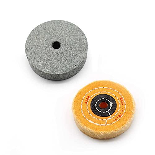 KINHARD Muela Abrasiva Muelas para Esmeriladoras, φ 75 mm Muelas de Taladro y Rueda de Pulido Lana, Accesorios de Pulido se Pueden utilizar para Lijar y Pulir