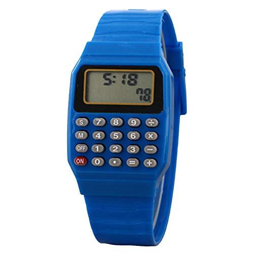 YSoutstripdu Kinder-Armbanduhr, digital, quadratisch, Mini-Taschenrechner, Prüfungswerkzeug, Geschenk für Kinder, Blau