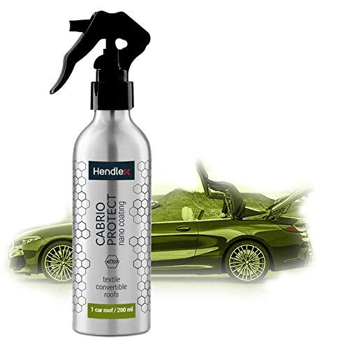 Hendlex Cabrio Verdeck Imprägnierung Wasserabweisendes Schutz Spray für Stoffdach (auch für Textil, Alcantara, Velours, Markise, Zelt, Motorrad Abdeckplane) 200 ml