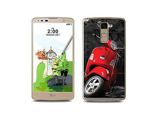etuo Handyhülle für LG Stylus 2 Plus - Hülle, Silikon, Gummi Schutzhülle - Roter Motorroller