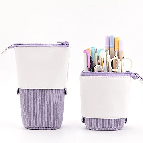 2PCS Estuche para lápices Pana Tela PU Estiramiento Estuche para lápices Estuche para lápices lindo Estuche para lápices Estuche para maquillaje Bolsa maquillaje Organizador de cosméticos ,Púrpura
