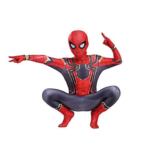 LINLIN Iron Man Mask Body Red Spiderman Mono Zentai 3D Impreso Super Heros Halloween Cosplay Disfraces para hombres y nios L (125 ~ 135 cm)