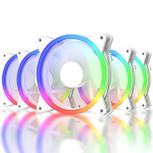 Ventilador de la serie RGB, ventilador inalámbrico RGB LED de 120 mm, edición silenciosa, alto flujo de aire, color ajustable, ventilador de carcasa LED para PC (rgb06, blanco paquete de 5)
