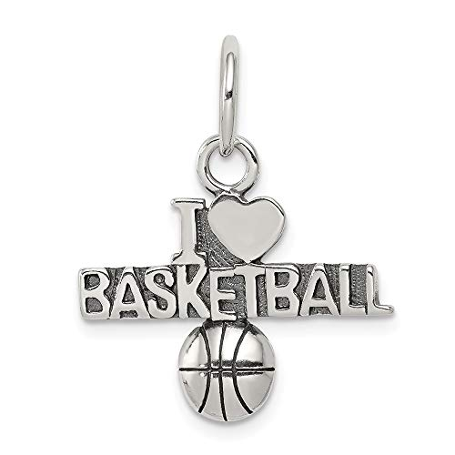 Sterling Silver Antique I (Heart) Basketball Charm Pendant