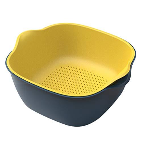 Cabilock Doppelschichten Küchensieb/Sieb Kunststoffwaschschüssel Und Siebablaufbecken Und Korb zum Reinigen von Gemüse Obst Nudeln (Blau Und Gelb)