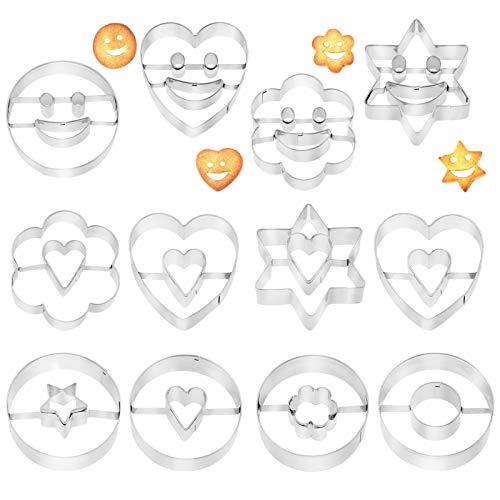 Pwsap 12 Stück Ausstechform Edelstahl, Smiley Herz Star Runden Blume Keks Ausstecher, Ausstechformen Keks und Plätzchenform Plätzchen, Plätzchenbacken Kinder Cookie Cutters für Backen