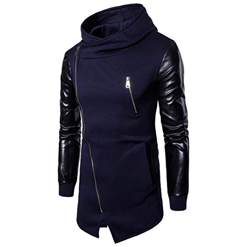 Men's Hoodie Leather Patchwork Hooded Sweatshirt Long Hoodie Jackets Fashionable Irregular Diagonal Zipper Placket Jacket Hip-hop Style Modern Streetwear Casual Autumn Winter Outwear L