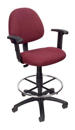 Boss Office Products Ergonomischer Arbeitsstuhl, ohne Armlehnen, Blau verstellbare Arme Mid-Back burgunderfarben