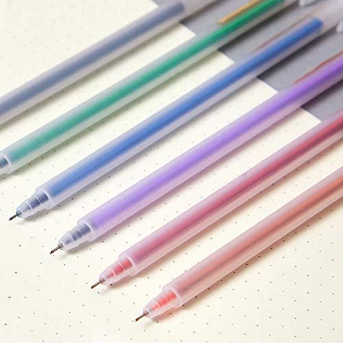 Bolígrafos de gel de color, 6 unidades, 0,5 mm, transparentes esmerilados, para escribir, pintar y decorar (negro/verde/naranja/morado/rojo/azul)