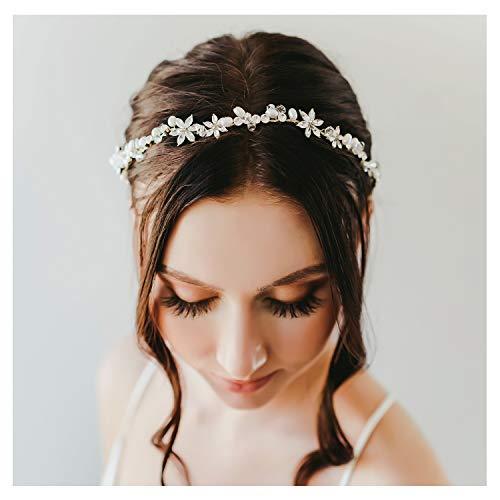 SWEETV Gold Hochzeit Stirnband Braut Haarschmuck Kristall Haarband Haarschmuck Diadem für Damen