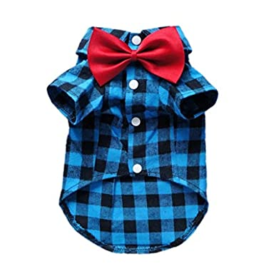 HOODDEAL Soft Casual Dog Red and Black Plaid Shirt Gentle Dog Western Shirt Dog Clothes Dog Cotton Shirt + Dog Wedding Tie,Blue (Small)