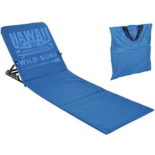 JEMIDI Strandliege Strandmatte Schwimmbadmatte mit Rückenlehne und Transporttasche Super leicht!!! Schwimmbad Decke Matte Laken Liege Strandliege tragbare (Blau)