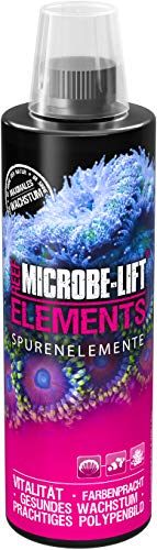 MICROBE-LIFT Elements - Mineralien & Spurenelemente (für alle Korallen in jedem Meerwasser Aquarium, maximales Wachstum, Intensive Farbenprach, ausreichend für 9.200 Liter) 473 ml