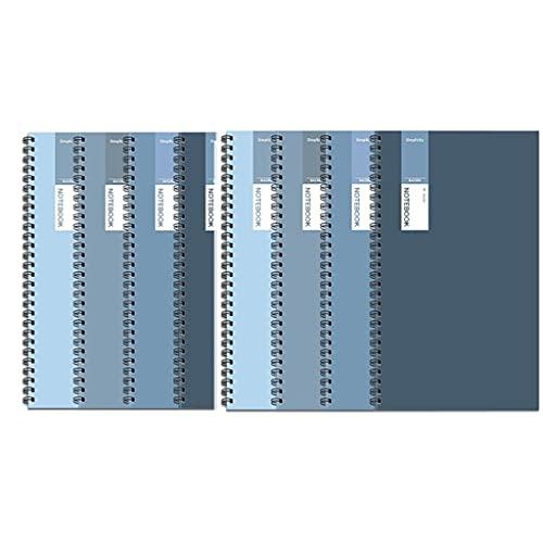 SUISHI Diario de Cuaderno de Espiral de Cubierta Suave 4/8-Pack, Cuaderno de Cuaderno/Nota de la Universidad Diario de la Nota, 60 Hojas, B5 / A4 (Color : 8-Pack a4)