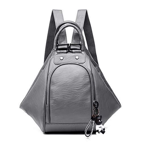BUKESIYI Damen Tasche Rucksack Handtasche Frauen backpack Klein Anti Diebstahl Schulrucksack Laptop Weekender PU Leder CCDE78150 Grau